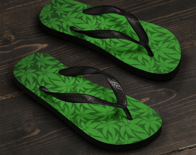 Unisex Flip-Flops, Hemp Marijuana Weed Print Sandals, Soft Printed Flip Flops Beach Shoes Apparel, Polyester Rubber Flip Flops Sandals
