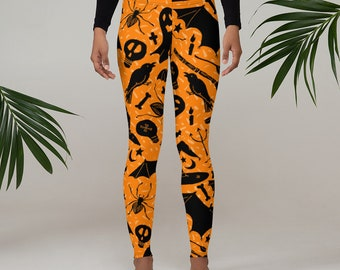 Halloween Leggings, Womens Adult Yoga Pants, Witches Hat Bats Halloween Clothing, Polyester Spandex Leggings XS-XL Size, Holiday Leggings