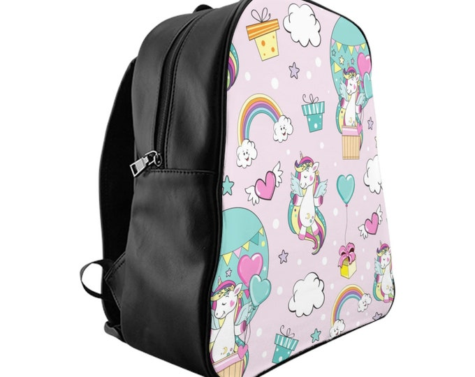 Vegan Leather Laptop Backpack, PU Leather Girls Kids Unicorn Horse Stars Print Backpack, 3 Sizes School Backpack, Office Carry Bag Luggage