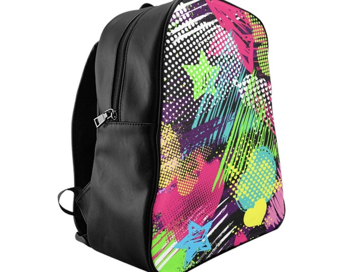 Vegan Leather Laptop Backpack, PU Leather Retro Neon 80's 90's Print Backpack, Three Sizes School Backpack,, Office Carry Bag Travel Luggage