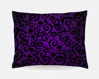 Purple Halloween Pillowcase, Purple Holiday Standard Pillowcase 30x20in, Standard Bedding Bed Pillow Case, Home Furnishings, Polyester Case