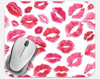 Tech Desk Computer Pad Lips Kiss Mouse Pad Neoprene Non Slip Mouse Pad Computer Mouse Pad Office Supplies Kiss Print Mouse Pad