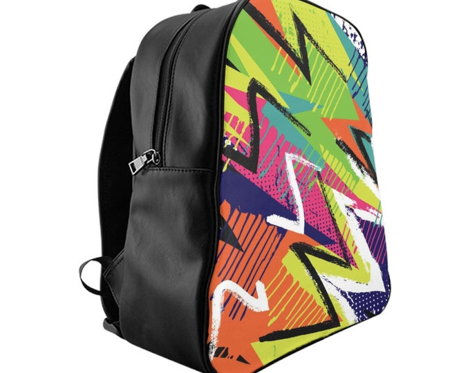 Vegan Leather Laptop Backpack, PU Leather Retro Neon 80's 90's Print Backpack, Three Sizes School Backpack,, Office Travel Carry Bag Luggage