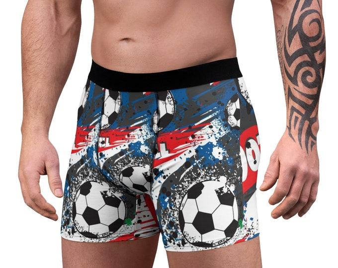 Men's Boxer Briefs, Sports Soccer Football Boxer Briefs, Mens Underwear, Boxer Brief Underwear, Mens Briefs, Retro Sports Clothing Apparel