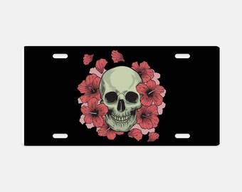 License Plate, Aluminum Custom Metal License Plate, Skulls Roses License Plate, Gothic Vehicle Plate, Auto License Plate, Metal Plate
