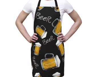 Beer Alcohol Bar Apron, One Size Polyester All Over Print Apron, Kitchen Gifts, Gift for Him, Chef Food Cook Apron, Beer Grilling Apron