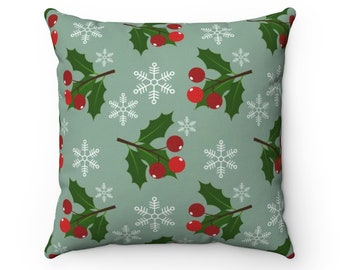 Square Pillow Case, Washable Pillow Cover, 14-20 Inch, Christmas Holly Holiday Home Decor, Snowflake Pillow Case, Printed  Holiday Bedding