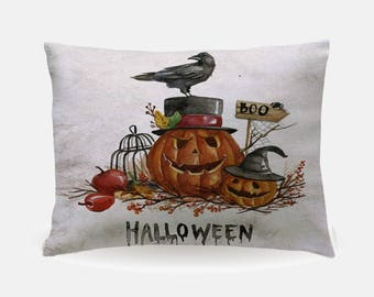 Orange Black Halloween Pillowcase, Holiday Standard Pillowcase 30x20in, Standard Bedding Bed Pillow Case, Pumpkin Crow Home Furnishings