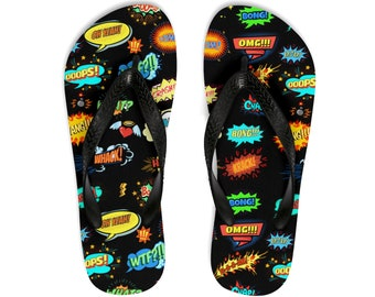 Unisex FlipFlops, Pop Art Comic Print Sandals, Soft Durable Printed Flip Flops, Beach Shoes And Apparel, Polyester Rubber Flip Flops Sandals