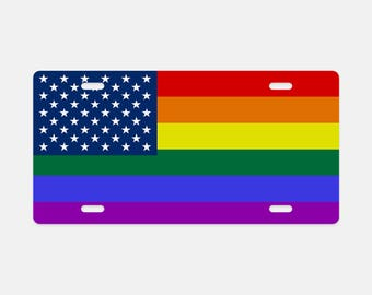 License Plate, Aluminum Custom Metal License Plate, American Flag License Plate, LGBT Rainbow Flag Peace Vehicle Plate, Auto License Plate