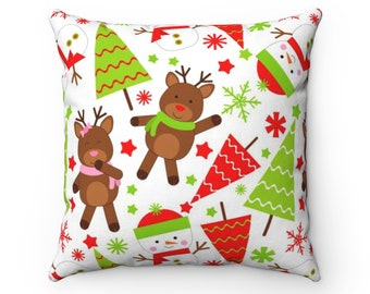 Square Pillow Case, Washable Pillow Cover, 14-20 Inch, Christmas Tree Holiday Home Decor, Reindeer Pillow Case, Snow Flakes Holiday Bedding