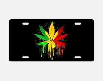 License Plate, Aluminum Custom Metal License Plate, Rasta License Plate,Marijuana Leaf Vehicle Plate, Auto License Plate, Metal Plate