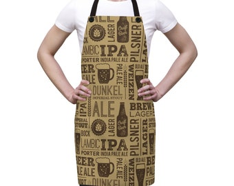 Beer Alcohol Bar Apron, One Size Polyester All Over Print Apron, Kitchen Gifts, Gift for Him, Chef Food Cook Apron, Beer Grill Print Apron