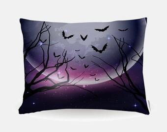 Purple Halloween Pillowcase, Purple Holiday Standard Pillowcase 30x20in, Standard Bedding Pillow Case, Home Furnishings, Bats Polyester Case