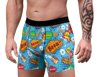 Men's Boxer Briefs, Funny Pop Art Boxers, Mens Underwear, Boxer Brief Underwear, Comic Book Pop Art Mens Briefs, Custom Mens Print Briefs
