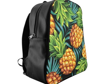 Vegan Leather Laptop Backpack, PU Leather Pineapple Fruit Tropical Print Bag, Three Sizes School Backpack, Office Travel Carry On Luggage