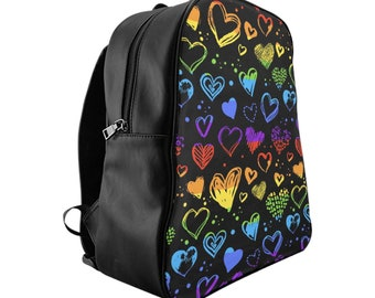 Vegan Leather Laptop Backpack, PU Leather Rainbow Hearts Girls Print Bag, Three Sizes School Backpack,, Office Travel Carry On Luggage Bag