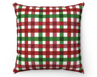 Square Pillow Case, Washable Pillow Cover, 14-20 Inch, Christmas Holiday Home Decor, Tartan Gingham Plaid Pillow Case, Plaid Holiday Bedding