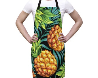 Pineapple Tropical Apron, One Size Polyester All Over Print Apron, Kitchen Gifts, Gift for Him, Chef Food Cook Apron,  Bar Grilling Apron