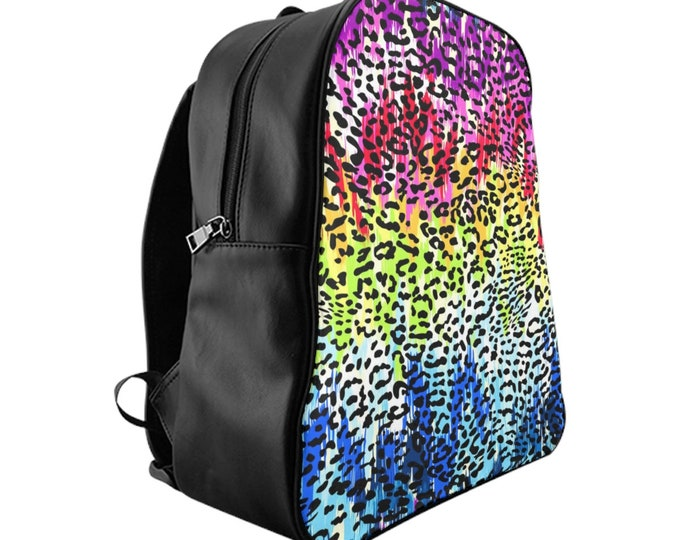 Vegan Leather Laptop Backpack, PU Leather Girls Rainbow Animal Print Bag, Three Sizes School Backpack,, Office Travel Carry On Luggage Bag