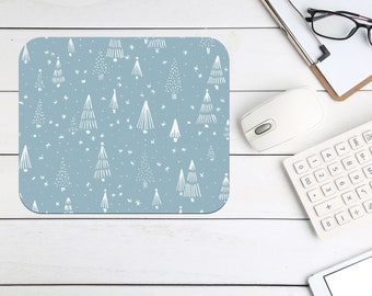 Christmas Snowflakes Mouse Pad, Tech Desk Office Desk Accessories, Custom Computer Office Supplies, Holiday Neoprene Non Slip Mouse Pad