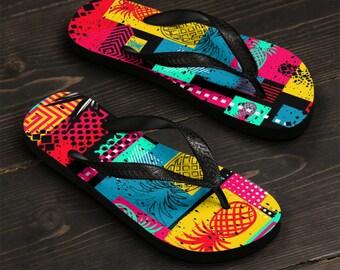 Unisex Flip-Flops, Retro Pineapple Neon Beach Sandals, Custom Summer Printed Flip Flops, Tropical Print Shoes Accessories, Pool Shoes
