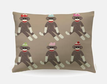 Sock Monkey Retro Pillowcase, Standard Pillowcase 30x20in, Sock Monkey Standard Bedding Bed Pillow Case, Home Furnishings, Polyester Case