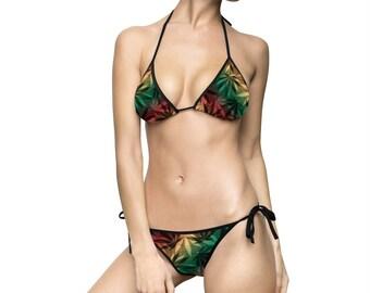 Women's Bikini Swimsuit, Adjustable Two Piece Marijuana Cannabis Weed Swimsuit, Pot Leaf Hemp Rasta Bathing Suit, Womens Bikini Swimwear