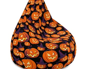 Large Bean Bag Chair with Filling, Halloween Pumpkins Jack O Lantern Room Dorm Decor, Holiday Halloween Chair, Custom Couch Furniture