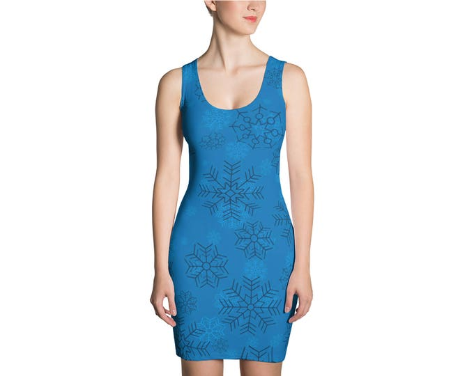 Christmas Dress, Womens Sleeveless Tank Stretch Dress, Holiday Snowflake  Winter Polyester Spandex Dress XS S M L XL Size, Tank Dress