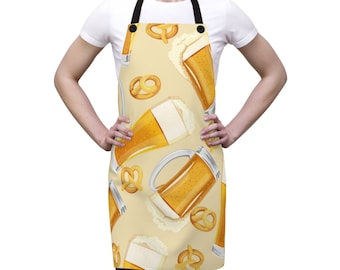 Beer Alcohol Bar Apron, One Size Polyester All Over Print Apron, Kitchen Gifts, Gift for Him, Chef Food Cook Apron, Beer Bar Grilling Apron