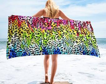 Large Beach Towel, 30 x 60 Inch Towel, Bath Towel, Retro Neon Animal Print Towel, Custom Paint Splatter 80's 90's Designer Premium Towel