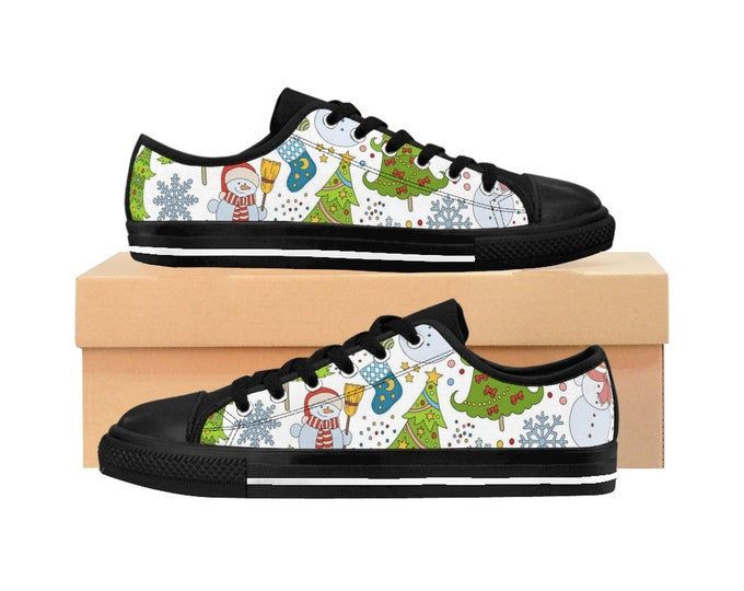 Winter Christmas Women's Sneakers, Snowman Holiday Sneakers, Holiday Tennis Shoes, Holiday Canvas Shoes, Custom Accessories Footwear