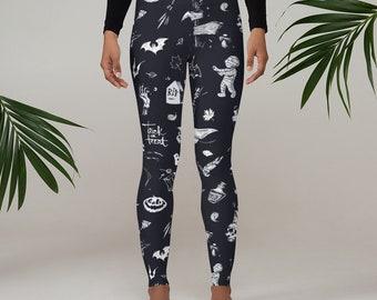 Halloween Leggings, Women's Yoga Pants, Mummies Bats Halloween Pants, Polyester Spandex Leggings XS-XL Size, Holiday Leggings