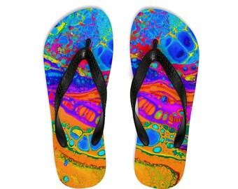 Unisex FlipFlops, Soft Durable Printed Flip Flops, Beach Shoes And Apparel, Polyester Rubber Flip Flops, Retro 80S Paint Print Beach Sandals