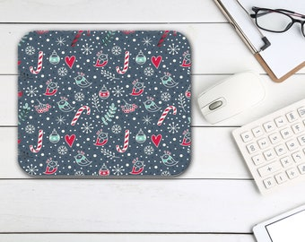 Christmas Candy Canes Mouse Pad, Tech Desk Office Desk Accessories, Custom Computer Office Supplies, Holiday Neoprene Non Slip Mouse Pad