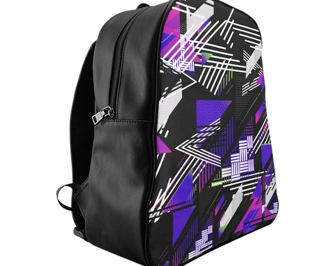 Vegan Leather Laptop Backpack, PU Leather Retro Neon 80's 90's Print Bag, Three Sizes School Backpack,, Office Travel Carry On Bag Luggage