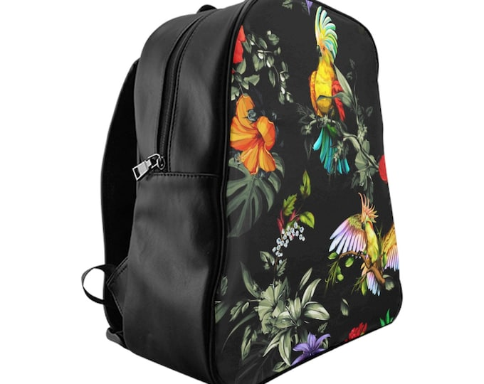 Vegan Leather Laptop Backpack, PU Leather Jungle Birds Tropical Print Bag, Three Sizes School Backpack,, Office Travel Carry On Luggage Bag
