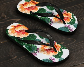 Unisex Flip-Flops, Cactus Floral Flowers Beach Sandals, Custom Summer Printed Flip Flops, Watercolor Flowers Shoes Accessories, Pool Sandals