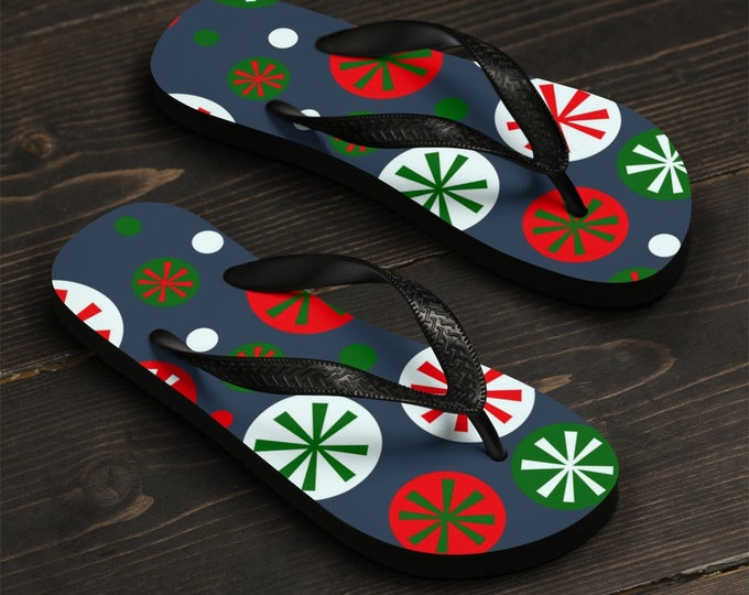 Unisex Flip-Flops, Soft Durable Printed Flip Flops, Beach Shoes and Apparel, Polyester Rubber Flip Flops, Christmas Holiday Vacation Sandals