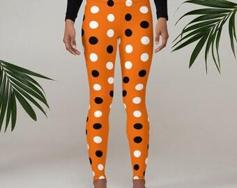 Halloween Leggings, Womens Yoga Pants, Polka Dots Halloween Pants, Polyester Spandex Leggings XS-XL Size, Halloween Dots Holiday Leggings