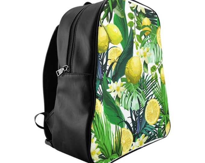 Vegan Leather Laptop Backpack, PU Leather Lemons Fruit Tropical Print Bag, Three Sizes School Backpack,, Office Travel Carry On Luggage Bag