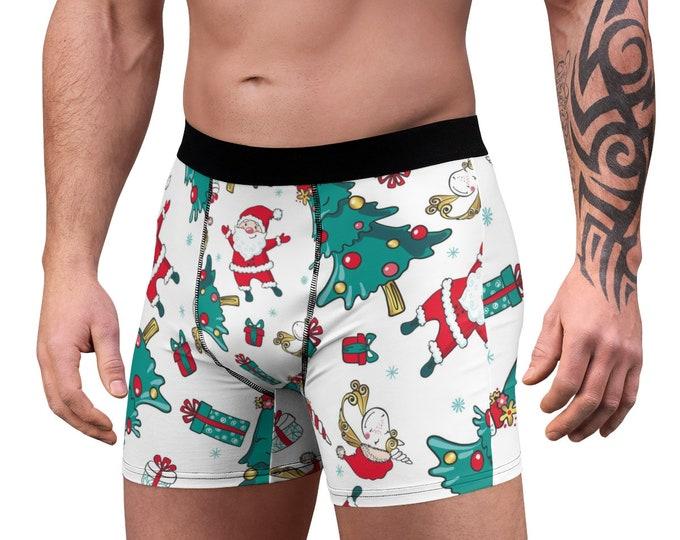 Men's Boxer Briefs, Santa Christmas Boxers, Boxer Brief Underwear, Christmas Tree Holiday Mens Briefs, Custom All Over Print Boxer Briefs
