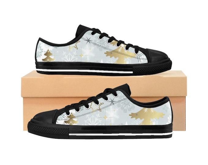 Winter Christmas Women's Sneakers, Snowflakes Holiday Sneakers, Holiday Tennis Shoes, Holiday Canvas Shoes, Custom Accessories Footwear
