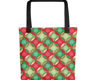 "15""x15"" Holiday Pattern Totebag, Christmas Tote Bag, Durable Large Print Bag, Cloth Bag, Polyester Illustrated Reusable Bag, Grocery Tote"