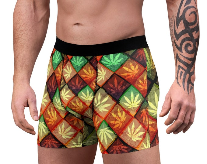 Men's Boxer Briefs, Marijuana Hemp Leaf Boxer Briefs, Mens Underwear, Boxer Brief Underwear, Mens Briefs, Rasta Pot Leaf Clothing Apparel