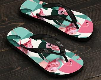 Unisex Flip-Flops, Retro Flamingo Beach Sandals, Custom Summer Printed Flip Flops, Tropical Beach Shoes Accessories, Pool Summer Flip Flops