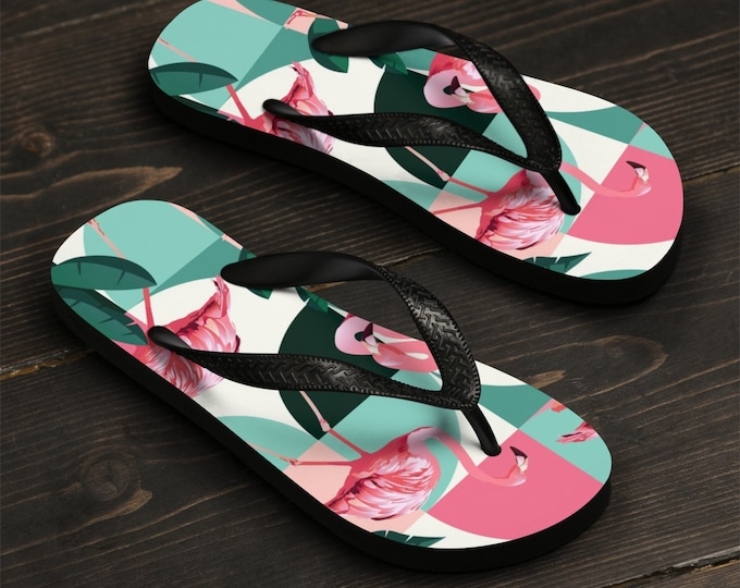 Unisex Flip-Flops, Retro Flamingo Beach Sandals, Custom Summer Printed Flip Flops, Tropical Beach Shoes Accessories, Pool Summer Flip Flops