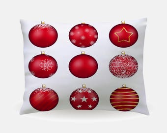 Winter Holiday Pillowcase, Ornaments Standard Pillowcase 30x20in, Christmas Bedding Pillow Case, Home Furnishings, Holiday Bedroom Decor