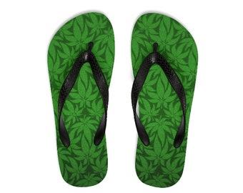 Unisex FlipFlops, Hemp Marijuana Weed Print Sandals, Soft Printed Flip Flops Beach Shoes Apparel, Polyester Rubber Flip Flops Sandals